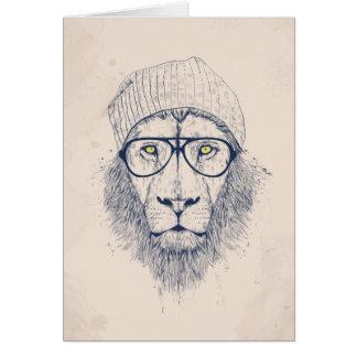 Cool lion greeting card