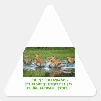 cool Lion designs Triangle Sticker