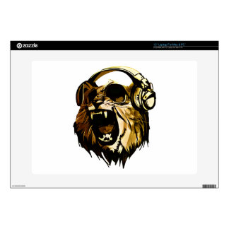 "Cool Lion head with glasses and headphones 15"" Laptop Skins"