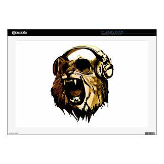 "Cool Lion head with glasses and headphones 17"" Laptop Decal"