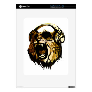 Cool Lion head with glasses and headphones Decal For iPad