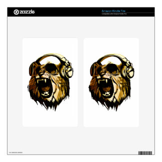 Cool Lion head with glasses and headphones Kindle Fire Skins