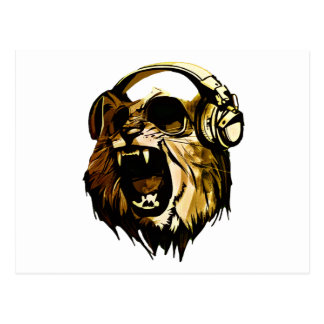 Cool Lion head with glasses and headphones Postcard