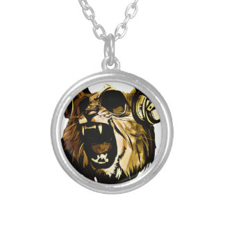 Cool Lion head with glasses and headphones Round Pendant Necklace