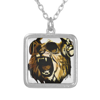 Cool Lion head with glasses and headphones Square Pendant Necklace