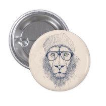 Cool lion pinback button
