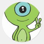 Cool Little Alien Classic Round Sticker