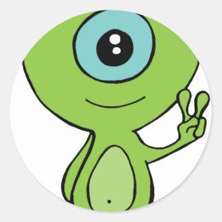 Cool Little Alien Round Sticker