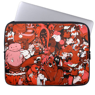 Cool Little Monsters in Red Laptop Sleeve