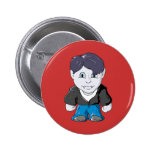 Cool Little Vamp in black leather jacket Pinback Buttons