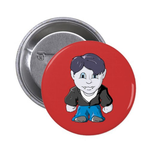 Cool Little Vamp in black leather jacket Button