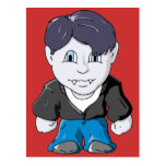 Cool Little Vamp in black leather jacket Post Card
