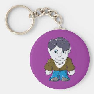 Cool Little Vamp in Brown Bomber Basic Round Button Keychain