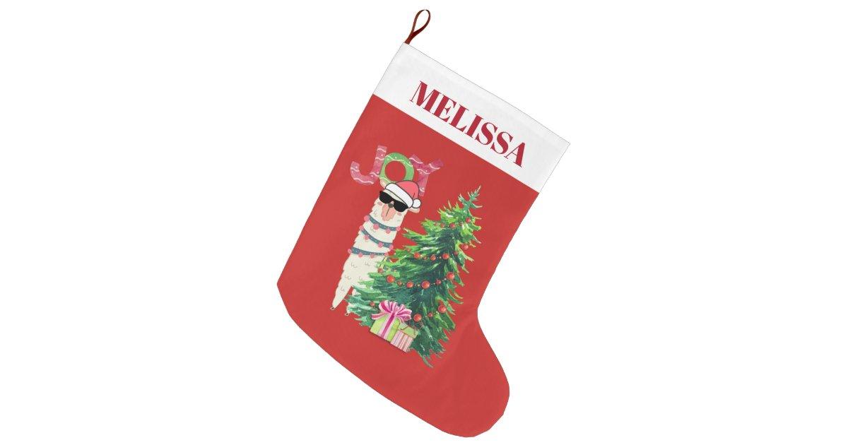Llama Christmas Stocking.Cool Llama Christmas Tree With Presents Large Christmas Stocking Zazzle Com