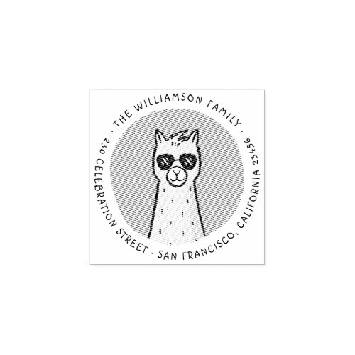 Cool Llama  Round Family Name Return Address Rubber Stamp