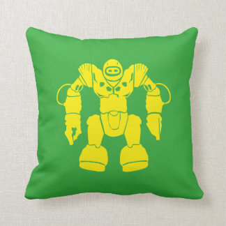 Cool looking science fiction yellow colored robot… throw pillow