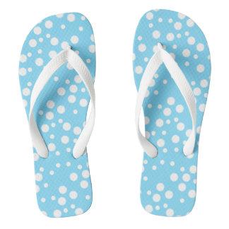 Cool Looking White Polka Dots Light Blue Flip Flop Flip Flops