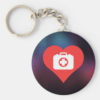 Cool Love First Aid Suitcases Basic Round Button Keychain
