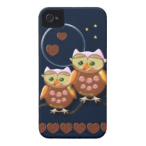 Cool Love Owls under a full Moon iPhone 4 Case