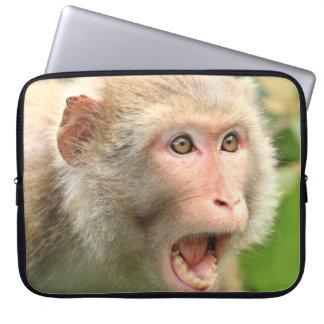 Cool Macaque Monkey Of Hong Kong Wildlife Nature Computer Sleeve