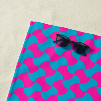 Cool Magenta and Turquoise Islamic Mosaic Pattern Beach Towel