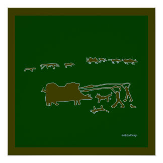 Cool Man Cave Wall Decor Prehistoric Hunting Scene Perfect Poster