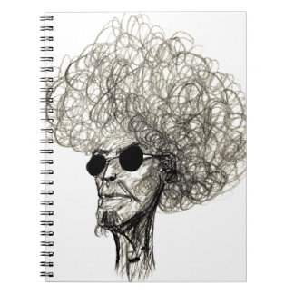 Cool Man with Huge Hair Afro Dude Note Books