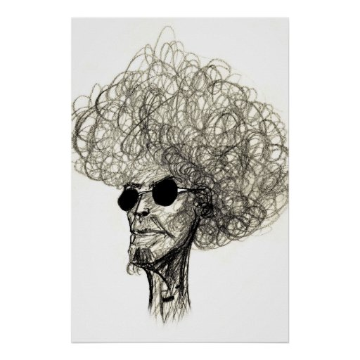Cool Man with Huge Hair Afro Dude Poster