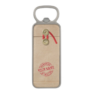 Cool Manila Envelope with Custom Name Red Seal Magnetic Bottle Opener