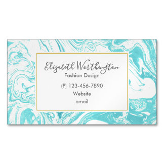 Cool Marble Design in Turquoise and Cream Magnetic Business Card