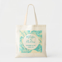Cool Marble Design in Turquoise and Cream Wedding Tote Bag