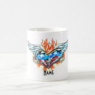 Cool Marvel  Heart with Flame tattoo mug