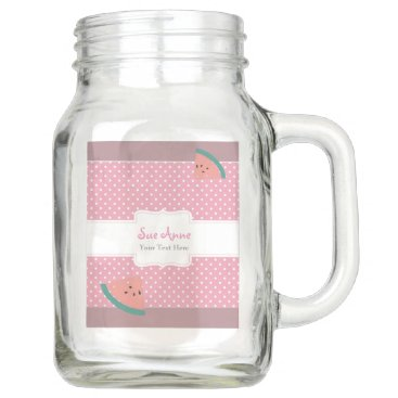 USA Themed Cool Mason Jar With Pink, Mint Watermelon  Art
