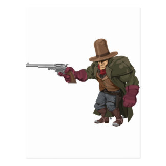 Cool mean looking cowboy postcard