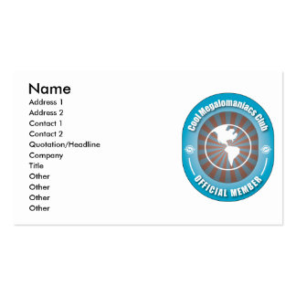 Cool Megalomaniacs Club Double-Sided Standard Business Cards (Pack Of 100)