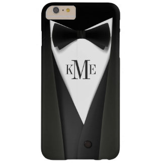 Cool Mens Tuxedo Suit Pattern - Manly Monogram Barely There iPhone 6 Plus Case