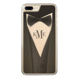 Cool Mens Tuxedo Suit Pattern - Manly Monogram Carved iPhone 7 Plus Case