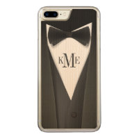 Cool Mens Tuxedo Suit Pattern - Manly Monogram Carved iPhone 8 Plus/7 Plus Case