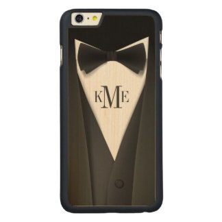 Cool Mens Tuxedo Suit Pattern - Manly Monogram Carved Maple iPhone 6 Plus Case