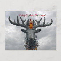 Cool Merry Chicken Christmas Postcard! Holiday Postcard