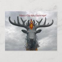Cool Merry Chicken Christmas Postcard! Holiday Postcard