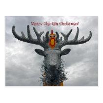 Cool Merry Chicken Christmas Postcard! Postcard