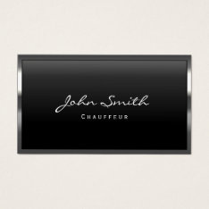 Cool Metal Border Chauffeur Business Card at Zazzle