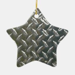 Cool metal checkerplate pattern ceramic ornament