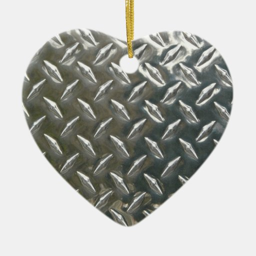 Cool metal checkerplate pattern Double-Sided heart ceramic christmas ornament