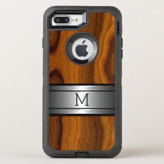 Cool Metal Modern Trendy Wood Grain Pattern OtterBox Defender iPhone 7 Plus Case