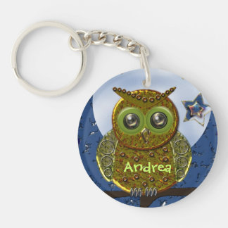 Cool Metal Owl keychain with Name