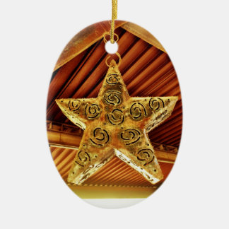 Cool Metal Star Hanging Patio Light Fixture Double-Sided Oval Ceramic Christmas Ornament