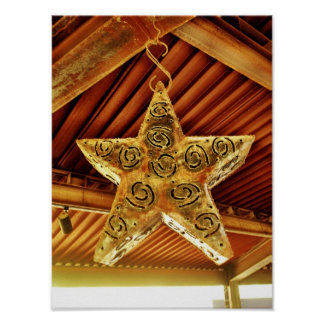 Cool Metal Star Hanging Patio Light Fixture Posters