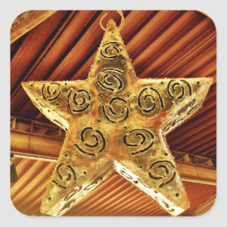 Cool Metal Star Hanging Patio Light Fixture Square Sticker